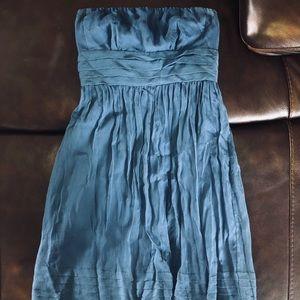 mid-length blue strapless dance dress
